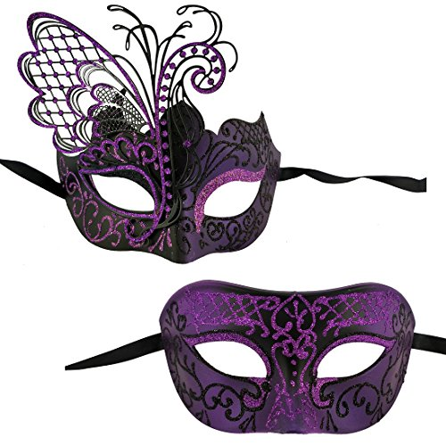 Xvevina Couples Pair Mardi Gras Venetian Masquerade Masks Set Party Costume Accessory (Purple Black Couples) -