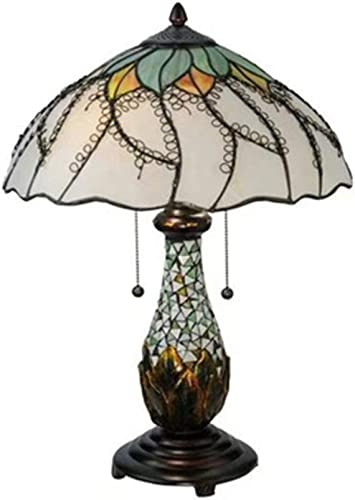 Vintage Tiffany Style Table Lamp, Stained Glass Night Light Handmade Lotus Pattern White Lampshade Metal Base for Living Room Bedroom Coffee Table 24 Inch High Nightstand Light E26 E272