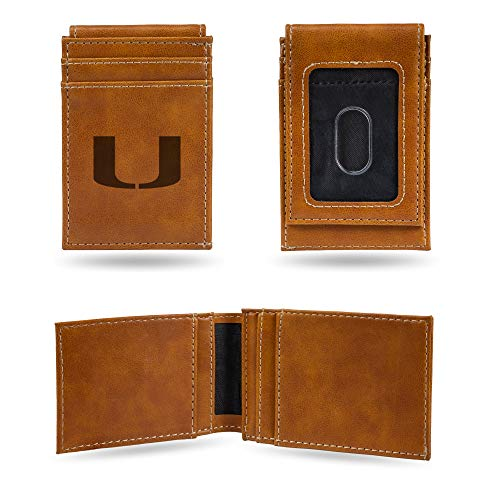 - Rico Industries NCAA Miami Hurricanes Laser Engraved Front Pocket Wallet, Brown