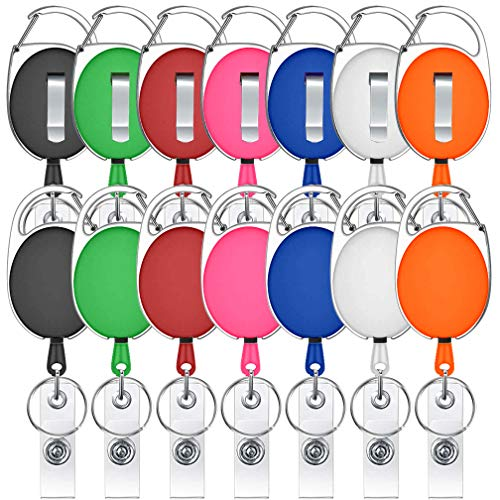 - 14 Pack Retractable Badge Holder Viaky Mixed Colors Carabiner Badge Reel with Clips for Key Ring and ID Cards(7 Colors)