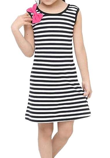 Summer Girls Dress Rainbow Stripe Sleeveless Cotton Kids Sundress Accessories