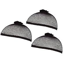 Wig Cap - 3 Pack of Elastic Nylon Black Mesh Net for Kids, Men, and Women, Long and Short Hair