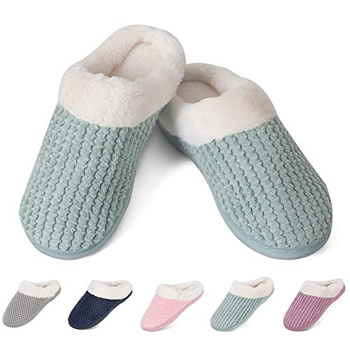 Women's House Slippers Comfortable Fleece Memory Foam Plush Lining Slip-on Anti-Slip Cozy Clog Home Shoes Indoor & Outdoor(HS-Green,38/39EU)