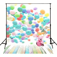 Kate 5x7ft Colorful Balloons Backdrop Children Photography Texture Wood Floor Photo Background