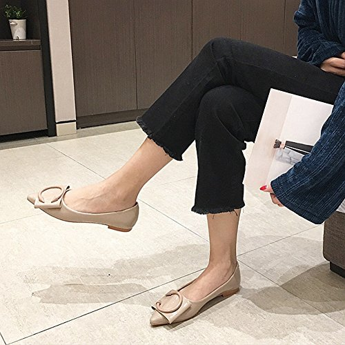 Cybling Mode Spetsig Tå Tillfälliga Kvinnor Enstaka Skor Bekväm Slip På Plan Loafer Ljusbrun