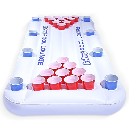 - GoPong Pool Lounge Beer Pong Inflatable with Social Floating, White