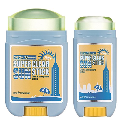 May NewYork Sunscreen Stick x2PACK Super Clear Pure Sunstick SPF50+ PA++++ - Convenient Stick Type Defense Against UV Rays and Sunburn - Water and Sweat Proof/Easy Glide on Skin (0.60oz+0.77oz) ... -