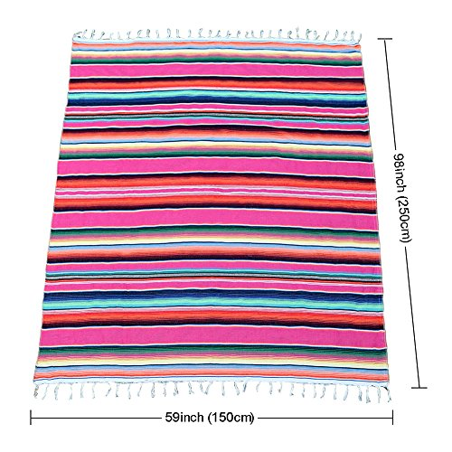 OurWarm 59 x 84 inch Mexican Blanket Tablecloth for Mexican Wedding Party Decorations, Large Square Cotton Mexican Serape Table Cloth by OurWarm (Image #3)