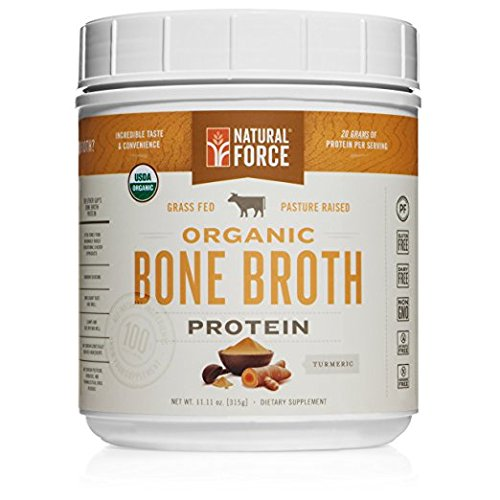 New! Organic Bone Broth Protein Powder, Best-Tasting Turmeric Flavor - Made from High Quality Grass-Fed Beef Bone Broth *No Fillers or Chicken, Rich in Ancient Collagen* by Natural Force, 11.11 Ounce