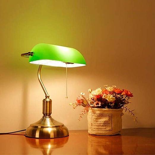 Para Leer Estudiar Flexo De Escritorio Lámpara De Escritorio Lámpara De Mesa De Empeño Verde Lámpara De Mesa Escritorio De Estudio Lámpara De Mesa De Vidrio Con Cubierta Verde Brillante: Amazon.es: Iluminación