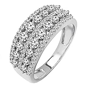 1.15 Carat (ctw) 14K White Gold Round Diamond Ladies Anniversary Wedding Band Ring (Size 7)