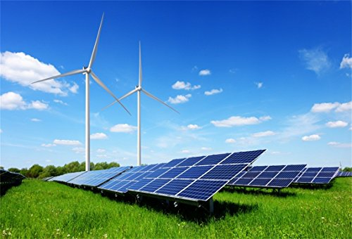 CSFOTO 8x6ft Background for Solar Panels and Wind Turbines Generating Electricity in Power Station Green Energy Renewable with Blue Sky Photography Backdrop New Energy Photo Studio Props - Generating Wind Turbines