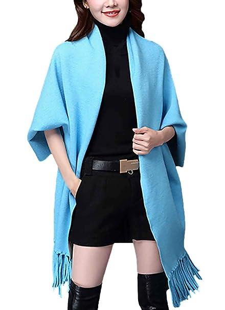 Poncho Donna Primaverile Autunno Puro Cardigan Colore