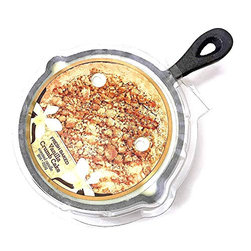 Cast Iron Skillet Vanilla Crumb Cake Scented Candle in Iron Pot Trivet, Use as Wax Warmer Afterwards, 8 inches (Skillet Candle)