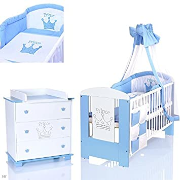 Lieblich PRINZ Blau Babyzimmer Möbel Komplettset Für Jungs Mit Kinderbett 120x60  Wickelkommode 9 Teiligen Bettwäsche Set Weiss
