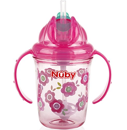 Nuby 2-Handle Printed No-Spill Thin Flip-It W/360 Weighted Straw Cup, Flowers/Pink