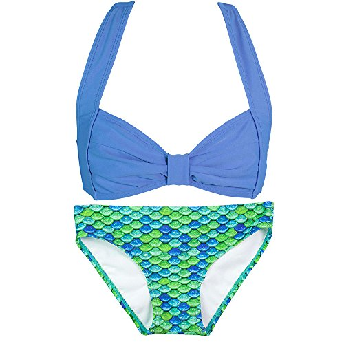 Fin Fun Mermaid Girls Clamshell Bikini Set, Dark Blue Top, Aussie Green Bottom, (Aussie Bikini)