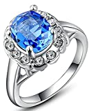 Aokarry Wedding Ring, Silver Plated Blue Oval Diamond Engagement Wedding Ring Band For Her
