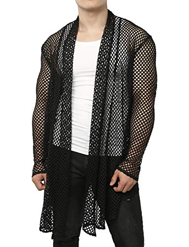 JOGAL Men's Mesh Fishnet Fitted Muscle Cardigan Large WG05 -