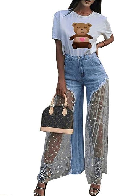 Konvinit Pantalones De Malla Para Mujer Con Cintura Alta Sexy Sin Bolsa Blanco Large Amazon Es Ropa Y Accesorios