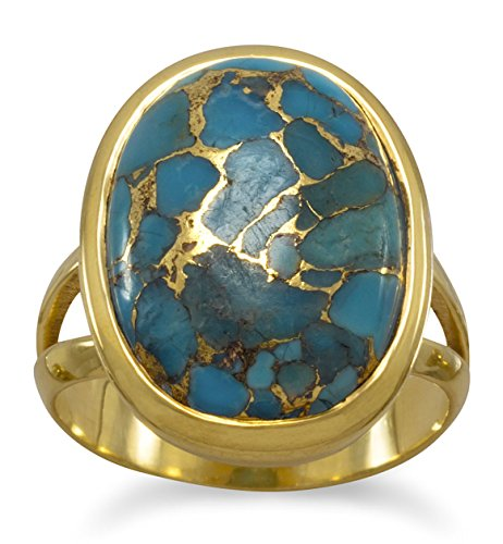 14K Gold Plated Sterling Ring, Stabilized Copper Infused Turquoise, Sizes 6-10, 3/4 inch - Priority First Tracking Mail