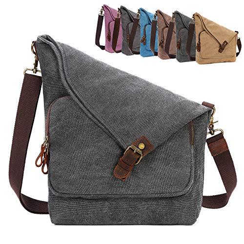 AmHoo Canvas Crossbody Bag for Women Genuine Leather Messenger Purse Handbags Shoulder Bag Hobo Totes Unisex,Black