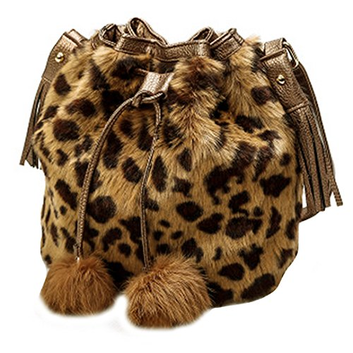 Women Faux Fur Shoulder Bag Handbag Bucket Bag Drawstring Bag Cross Body Bag(Leopard Brown) Fur Shoulder Bag