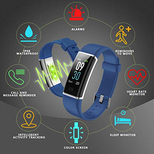 Letscom Fitness Tracker, Heart Rate Monitor Watch with Color Screen, IP68  Waterproof, Step Counter, Calorie Counter, Sleep Monitor, Pedometer, Smart