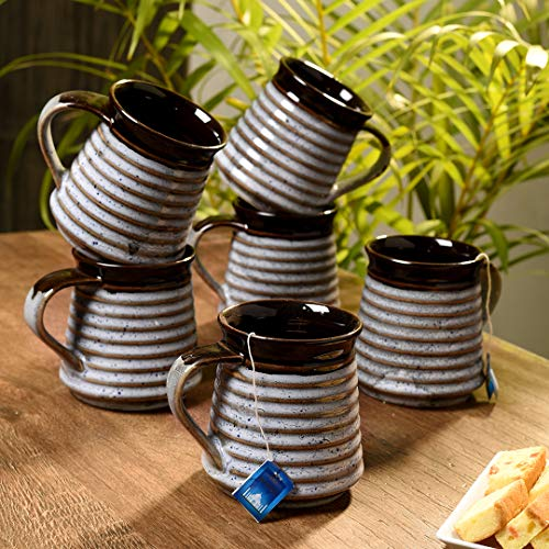 Unravel India silver studio ceramic tea/coffee mug (Set of 6)