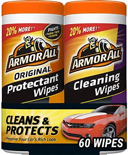Armor All Car Interior Cleaner Protectant Wipes – Cleaning for Cars And Truck And Motorcycle, 30 Count (Pack of 2), 18779