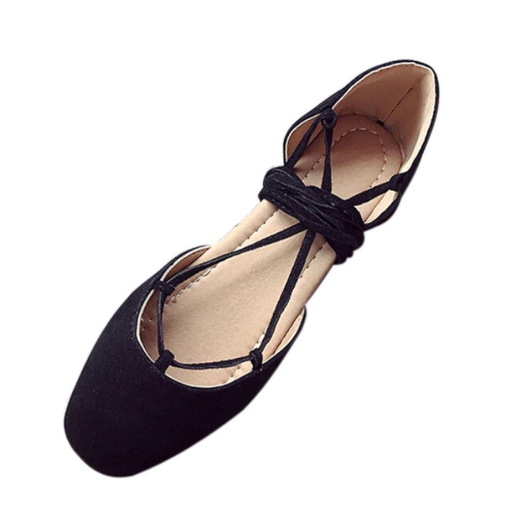 yjydadaレディースRoman浅い口フラット靴クロスストラップバンデージベースサンダル靴 B07D487ZLD 40|ブラック ブラック 40