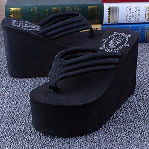 Azbro Mujeres Casual Sandalias Color Sólido con Plataforma Tacón de Cuña Alta Negro