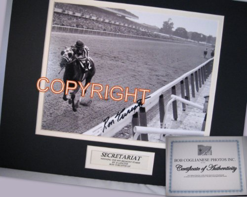 Iconic Secretariat Ron Turcotte Double Mat 1973 Belmont Photo Triple Crown Win Hand Sined Voted the Greatest Horse Racing Photo of All Time (Secretariat Wins)