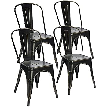 Devoko Tolix Black And Antique Gold Metal Chairs Indoor Outdoor Stackable  Dining Chairs Kitchen Modern Style