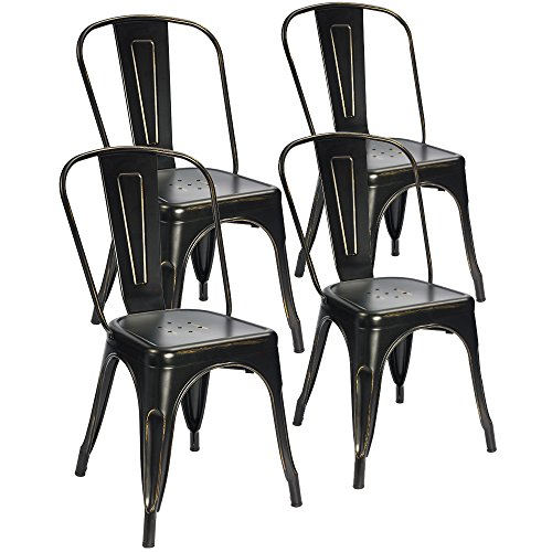 Devoko Tolix Black and Antique Gold Metal Chairs Indoor Outdoor Stackable Dining Chairs Kitchen Modern Style Chairs With Back Set of 4 (Black Gold) - Black Outdoor Dining Chair