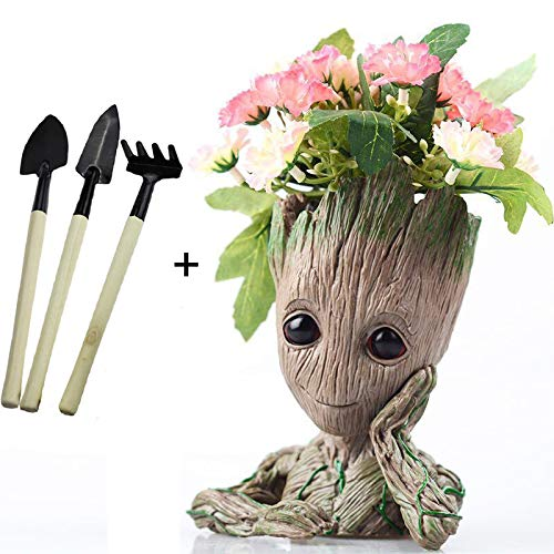 Baby Groot Flowerpot Guardians of The Galaxy Baby Action Figures with 3 Small Garden Tools for Kids or Office Decorations