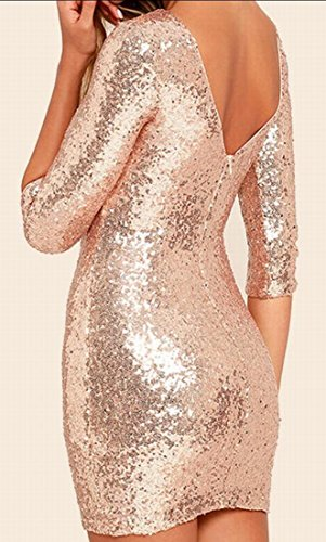 Jaycargogo Womens Manches 3/4 Moulante Éclat Sequin Mini Robes Club Wear Cocktail 1