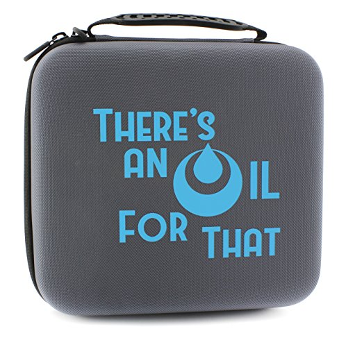 "Price comparison product image ""THERE'S AN OIL FOR THAT"" Essential Oil Carrying Case Holds 30 5ml / 10ml / 15ml Bottles; Gray Nylon Travel-Friendly Foam-Padded Aromatherapy Organizer w / Handle & Zipper"