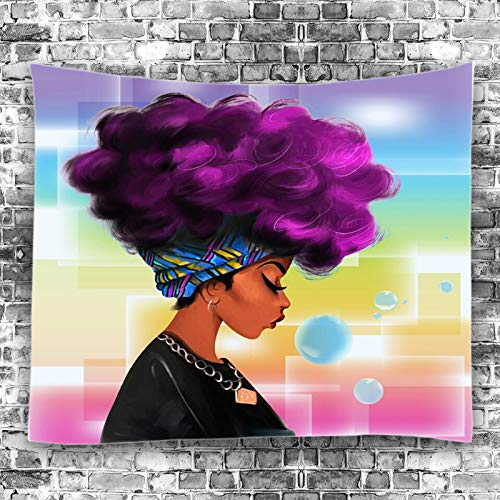 Unitendo African American Black Girl Colourful Print Wall Hanging Tapestries Indian Polyester Picnic Bedsheet Afro Wall Art Decor Hippie Tapestry, 80X 60 Purple Hair Afro Girl.