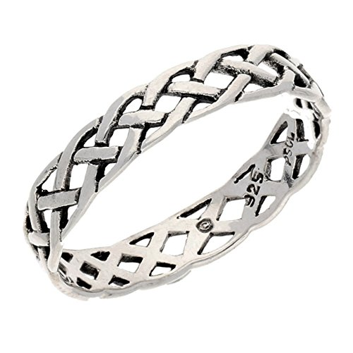 Narrow 4mm Neverending Celtic Knot Sterling Silver Pinky Band Ring Size 8(Sizes 3,4,5,6,7,8,9,10,11,12,13,14,15,16)