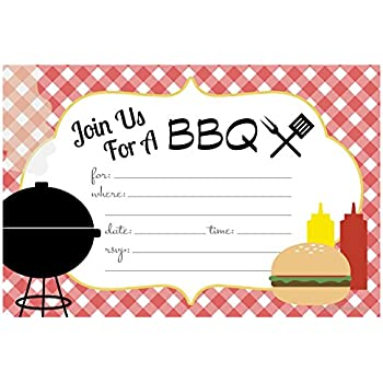 amazon com summer bbq cookout invitations fill in style 20 count