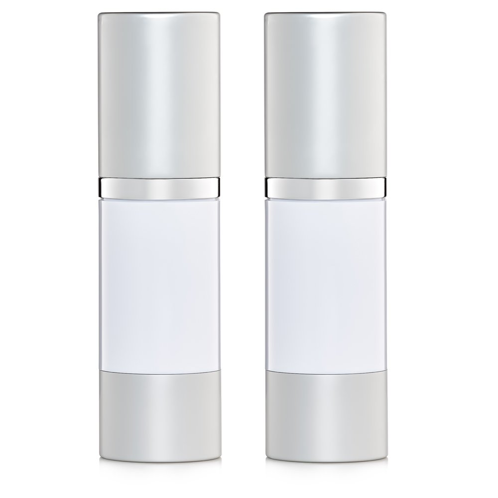 Airless Pump Bottles Set of 2 Refillable White 1 oz