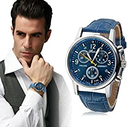 Bessky Men\'s Crocodile Faux Leather Analog Watch