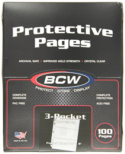 100 BCW 3-Pocket Currency Size Binder Pages -