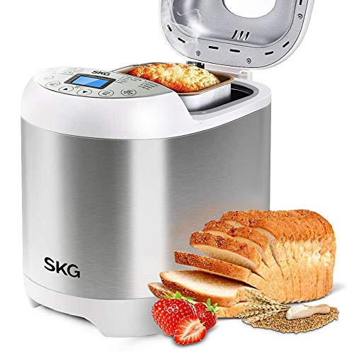 SKG 3920 Automatic Bread Machine with Recipes Multifunctional Loaf Maker for Beginner Friendly - Silver