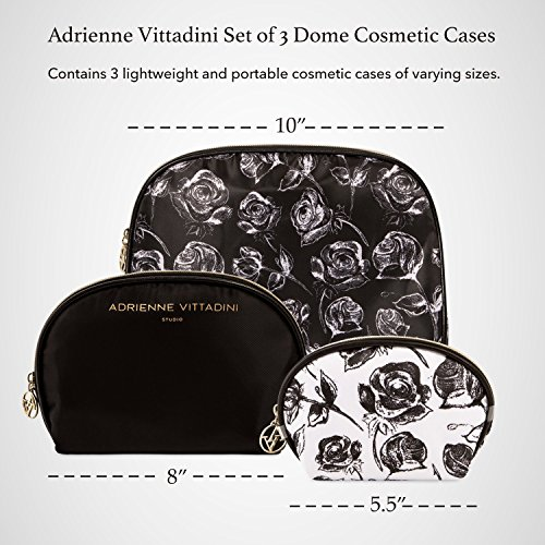 Adrienne Vittadini Cosmetic Makeup Bags: Compact Travel Toiletry Bag Set in Small, Medium and Large for Women and Girls - Black and Brown Leopard by ADRIENNE VITTADINI (Image #2)