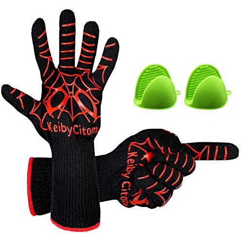 Camp Chef Heat Resistant Gloves - Fire Resistant Gloves Fire Pit 932°F Heat Resistant - BBQ Gloves for Barbecue Kitchen Outodor Cooking Baking Fireplace Accessories with 2 Free Mini Oven Mitts (One Size, Black/Red)
