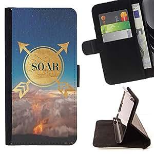 For Sony Xperia M2 Case , Cita de motivación Oro naturaleza Cielo- la tarjeta de Crédito Slots PU Funda de cuero Monedero caso cubierta de piel