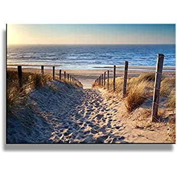 Yixuanwall Art Canvas Prints,Footprints Beach Wall Art Oil Paintings  Printed Pictures Stretched For