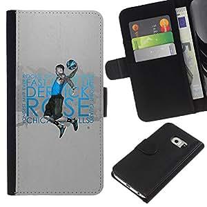 BearCase / Cuero de la tarjeta la carpeta del tirón Smartphone Slots Protección Holder /// Samsung Galaxy S6 EDGE /// Novato del Año de Baloncesto